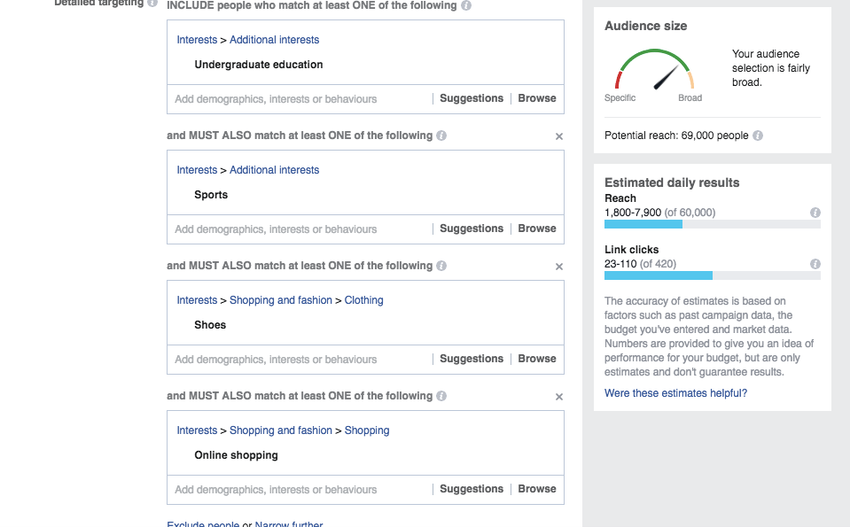 Facebook Interest targeting for Sports Shoes India 2017