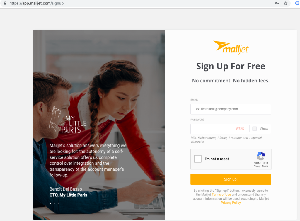 mailjet signup page