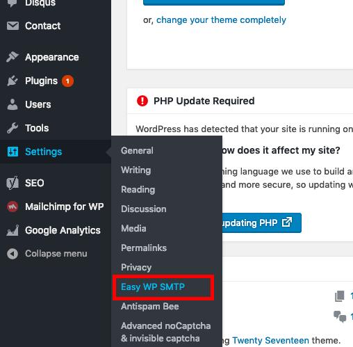 Easy WP SMTP settings