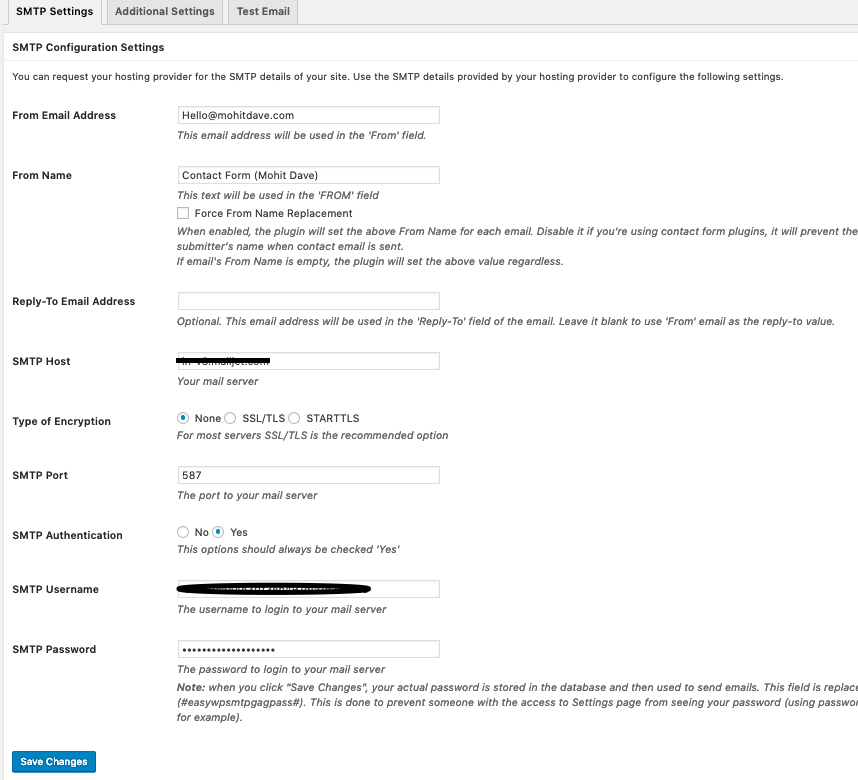 SMTP Server details in WordPress